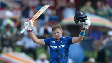 Joe Root celebrates his seventh ODI hundred