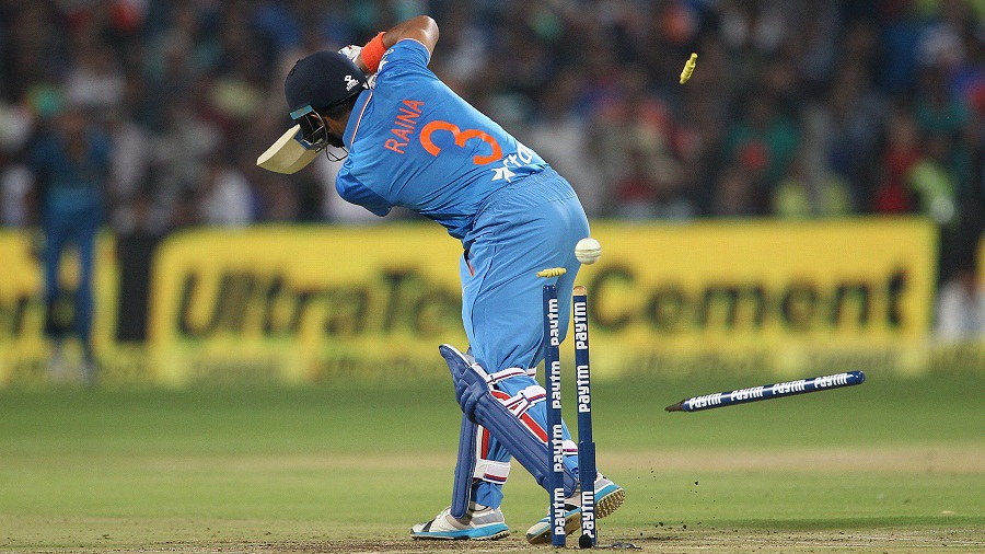 Suresh Raina was bowled for 20