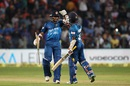 Milinda Siriwardana and Seekkuge Prasanna celebrate after taking Sri Lanka to victory, India v Sri Lanka, 1st T20, Pune, February 9, 2016