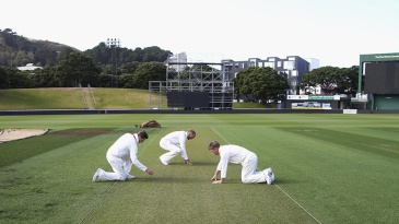 Steven Smith, Nathan Lyon and David Warner examine the pitch
