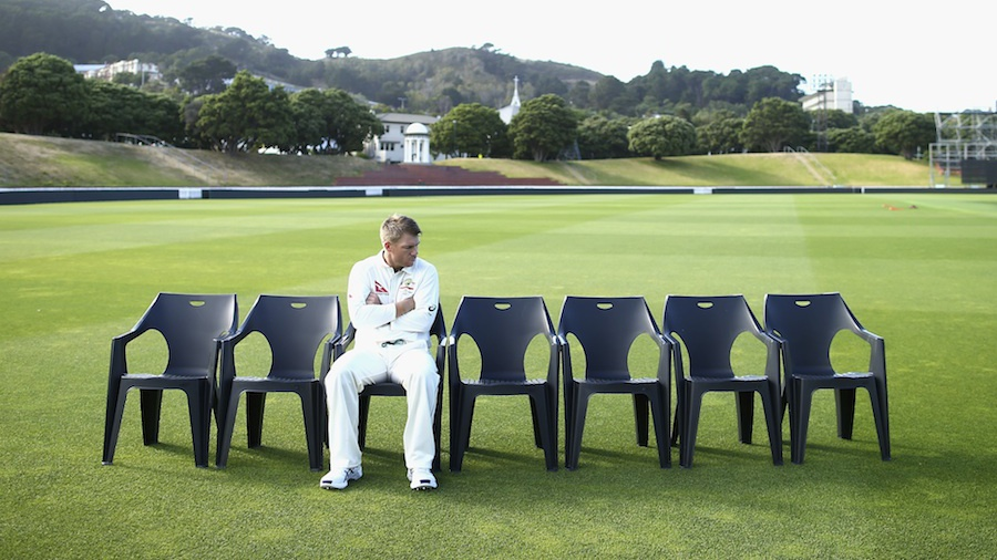 David Warner waits for his team-mates for the team photo