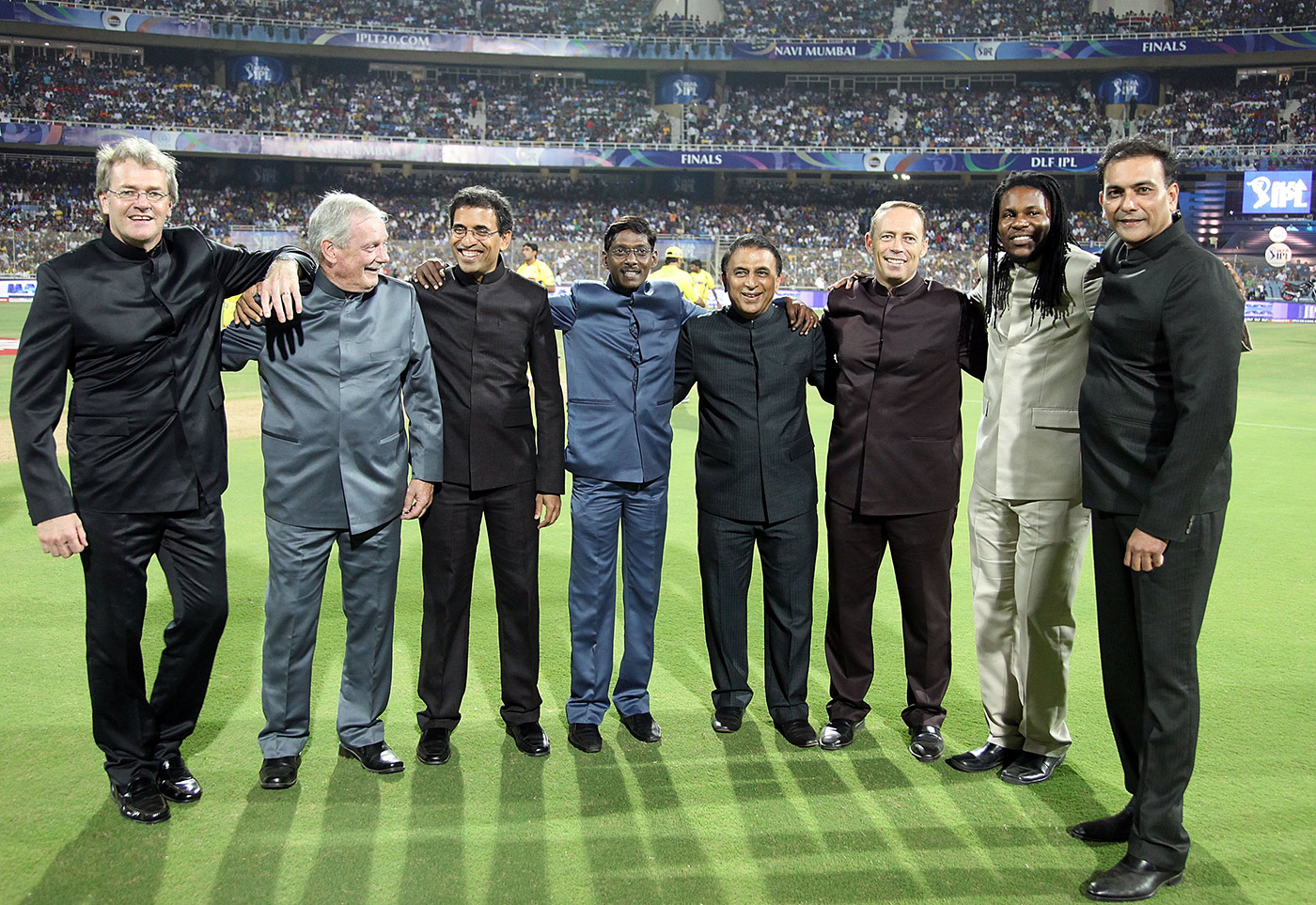 All the BCCI's men: Siva (fourth from left) with fellow commentators at the IPL final of 2010