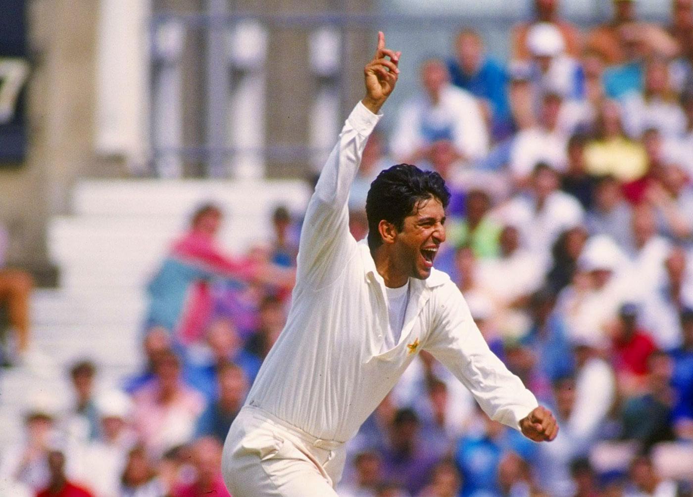 Wasim Akram celebrates a wicket