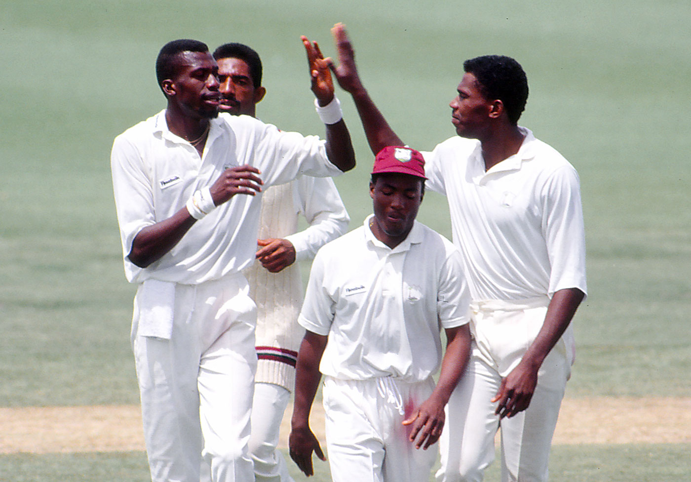 Time to strike: Curtly Ambrose celebrates one of 33 Test wickets down under in 1992-93