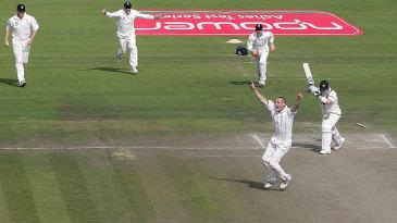 Michael Clarke is bowled shouldering arms to Simon Jones