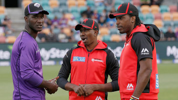 Darren Sammy, Dwayne Bravo and Chris Gayle have a chat