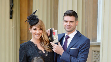 James Anderson at Buckingham Palace, with wife Danielle, and daughters Lola and Ruby, after receiving his OBE