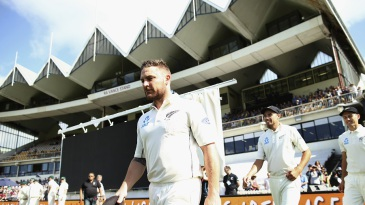 Brendon McCullum leads his men out to the middle