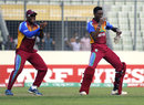 Gidron Pope and Shamar Springer celebrate after the semi-final win, Bangladesh Under-19s v West Indies Under-19s, Under-19 World Cup, semi-final, Dhaka, February 11, 2016
