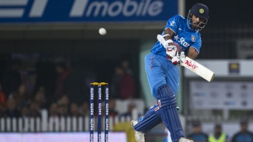 Shikhar Dhawan launches one into the leg side during his brisk fifty