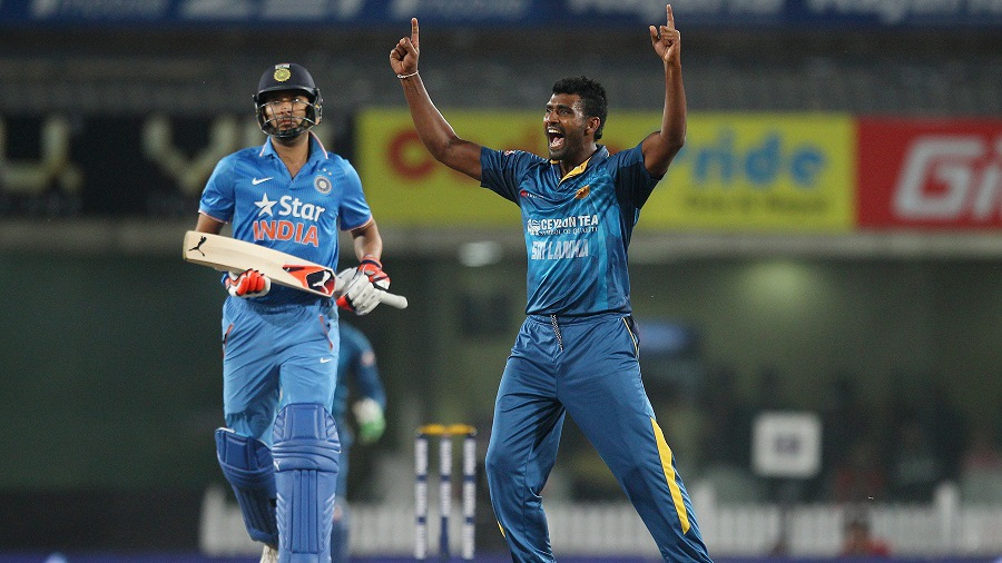 Thisara Perera celebrates after completing his hat-trick