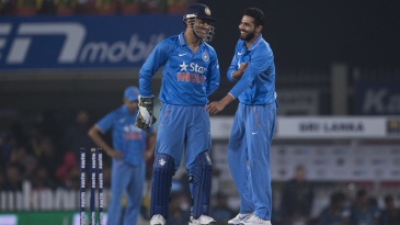 MS Dhoni and Ravindra Jadeja share a laugh