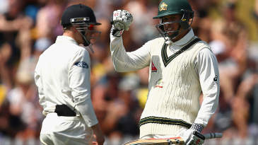 Usman Khawaja is elated after scoring his first overseas Test century
