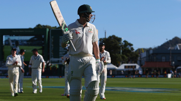 Adam Voges walks back after ending the day unbeaten on 176
