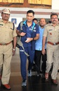 Amid heavy security, MS Dhoni makes his way out of Visakhapatnam airport, Visakhapatnam, February 13, 2016