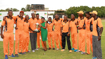 The Mashonaland Eagles players pose with the series trophy