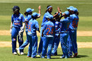 Shikha Pandey celebrates a wicket, Australia v India, 1st Women's T20, Adelaide, January 26, 2016