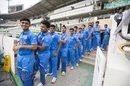 The Indian players line up before the match, India v West Indies, final, Under-19 World Cup, Mirpur, February 14, 2016