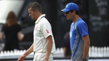 Peter Siddle went off the field with a back problem