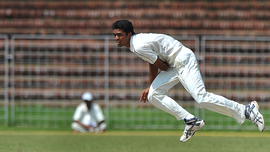 Jaydev Unadkat bowls during a three-day match against Australians and India Board President's XI