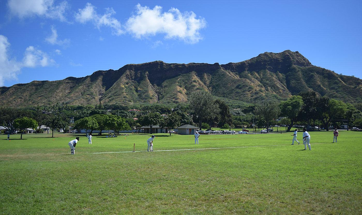 A cricket match in Kapiolani Park in Honolulu
