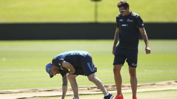 Brendon McCullum and Tim Southee inspect the Hagley Oval pitch