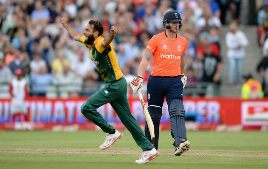 Imran Tahir got rid of Alex Hales and Ben Stokes in consecutive overs