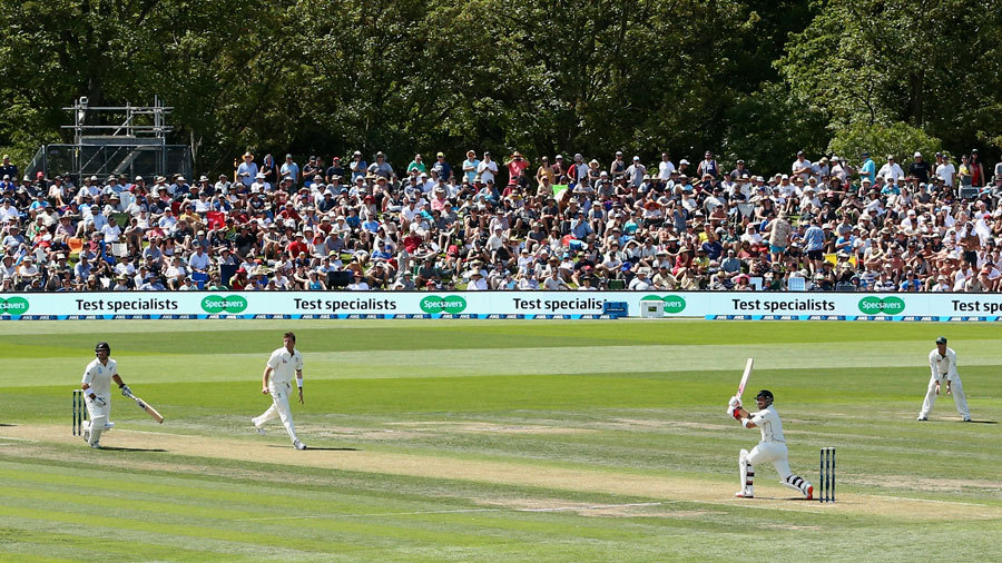 Brendon McCullum whips one through the leg side