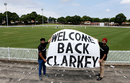 Fans hold up a banner on Michael Clarke's return to grade cricket, Sydney, February 20, 2016