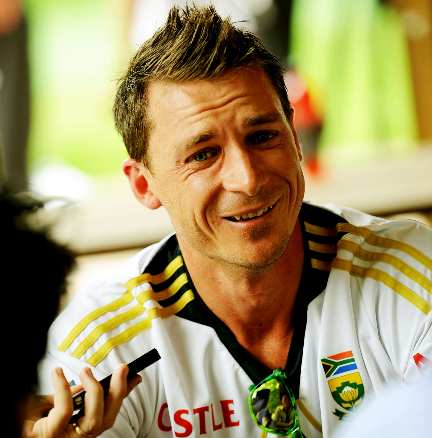 Dale Steyn talks during an interview