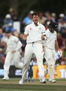 James Pattinson celebrates after dismissing Tom Latham, New Zealand v Australia, 2nd Test, Christchurch, 3rd day, February 22, 2016