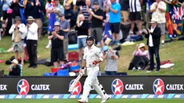 Brendon McCullum walks out to bat for his final Test innings