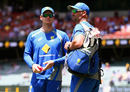Steven Smith and Michael Di Venuto have a chat before start of play, Australia v New Zealand, 3rd Test, Adelaide, 1st day, November 27, 2015