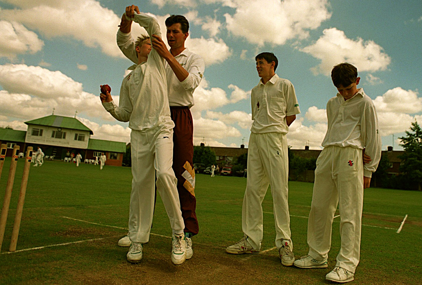 Foster coaches youngsters in Northampton, 1997
