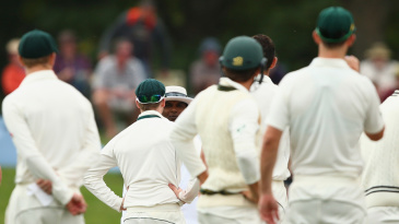 Steven Smith has a word with umpire Ranmore Martinesz