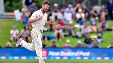 Jackson Bird is upbeat after his third wicket in ten balls