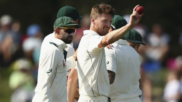 Jackson Bird celebrates his maiden Test five-for