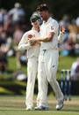 Jackson Bird is congratulated by captain Steven Smith, New Zealand v Australia, 2nd Test, Christchurch, 4th day, February 23, 2016