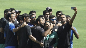 The Saurashtra players pose for a selfie