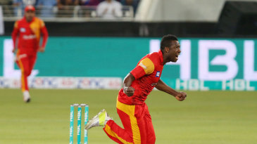 Andre Russell sets off in celebration