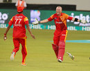 Brad Haddin prepares to embrace Samuel Badree, Islamabad United v Quetta Gladiators, PSL final, Dubai, February 23, 2016