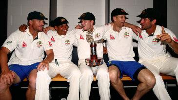 David Warner, Usman Khawaja, Steven Smith, Adam Voges and Joe Burns savour Australia's win