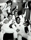 Indian players celebrate their innings win over Australia. Clockwise from bottom: Dilip Vengsarkar, Ashok Mankad, Karsan Ghavri, Syed Kirman, Gundappa Viswanath and Bhagwath Chandrasekhar, Australia v India, 4th Test, Sydney, 5th day, January 12, 1978