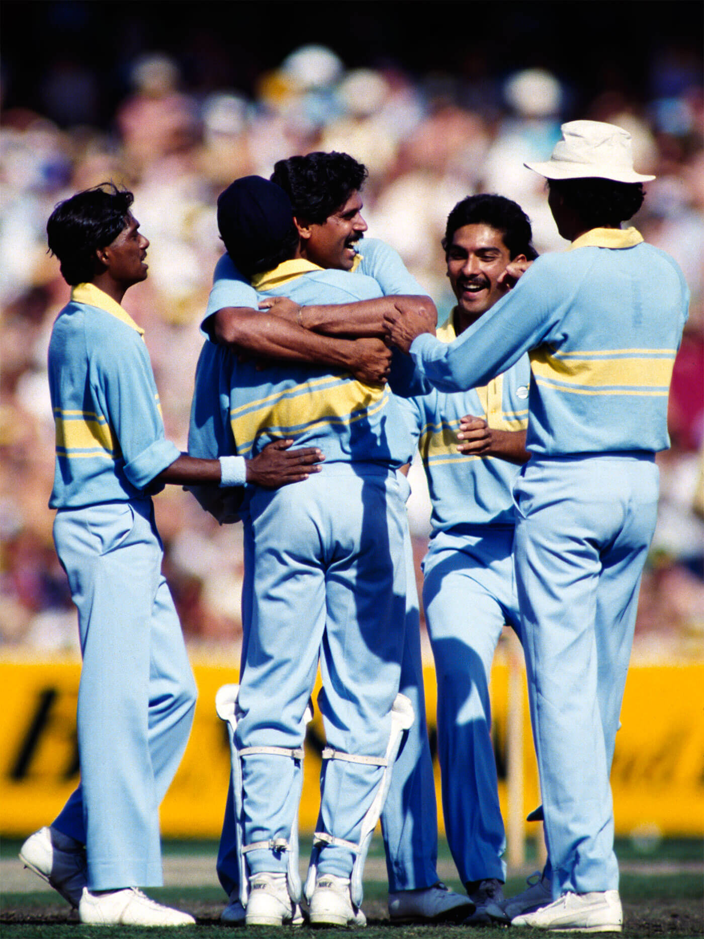 Siva (far left) is perhaps best remembered for his performance in the World Championship of Cricket in 1985, taking ten wickets in five games