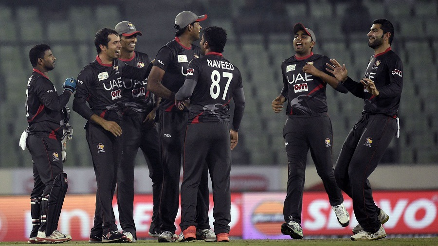 UAE get together to celebrate a wicket