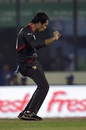 Rohan Mustafa celebrates the wicket of Angelo Mathews, Sri Lanka v UAE, Asia Cup 2016, Mirpur, February 25, 2016