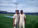 Prerak Mankand and Hardik Rathod pose after the second day's play, Mumbai v Saurashtra, Ranji Trophy 2015-16 final, Pune, February 25, 2016
