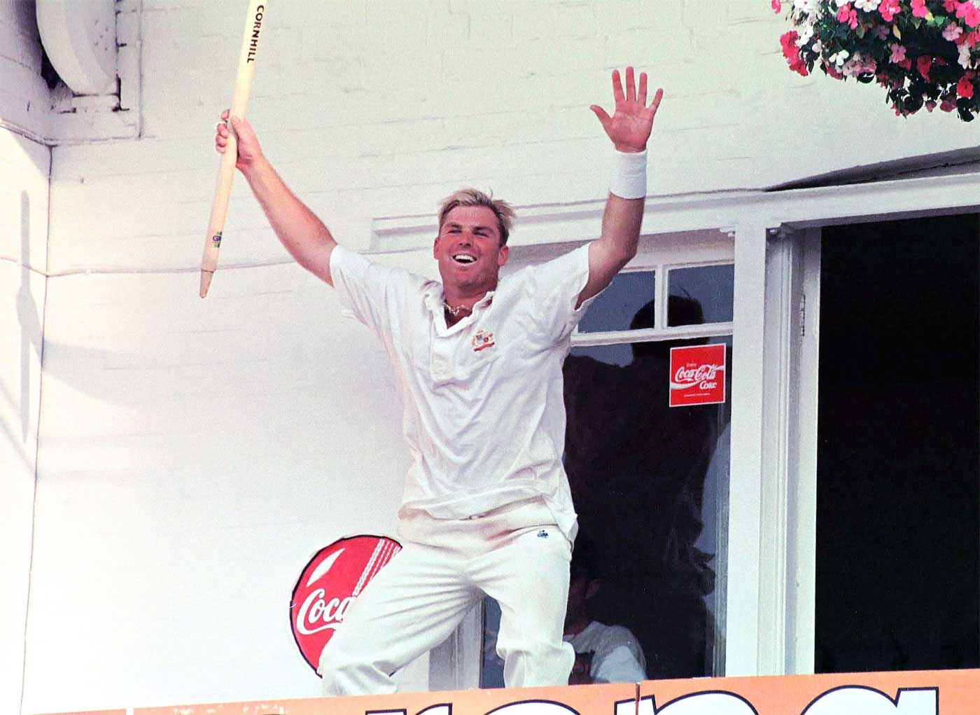 Australia's showman: Warne lets his hair down after winning the 1997 Ashes