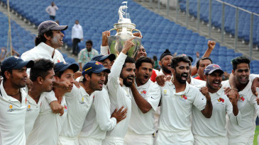 The Mumbai players celebrate their 41st Ranji Trophy title
