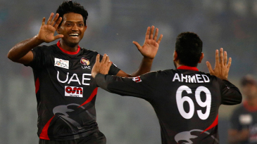 UAE captain Amjad Javed took wickets off successive deliveries in the 18th over